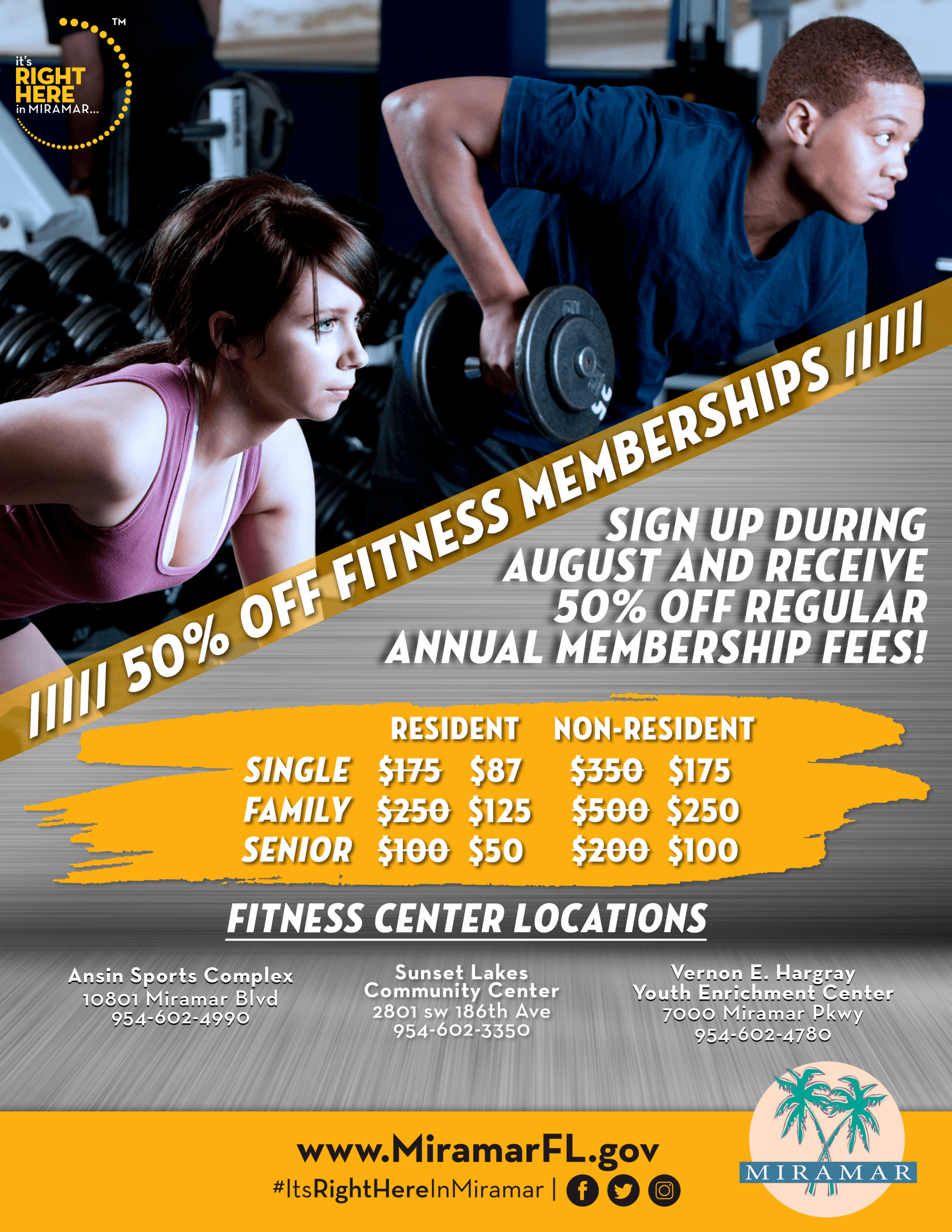 50% Off Fitness Center Annual Memberships