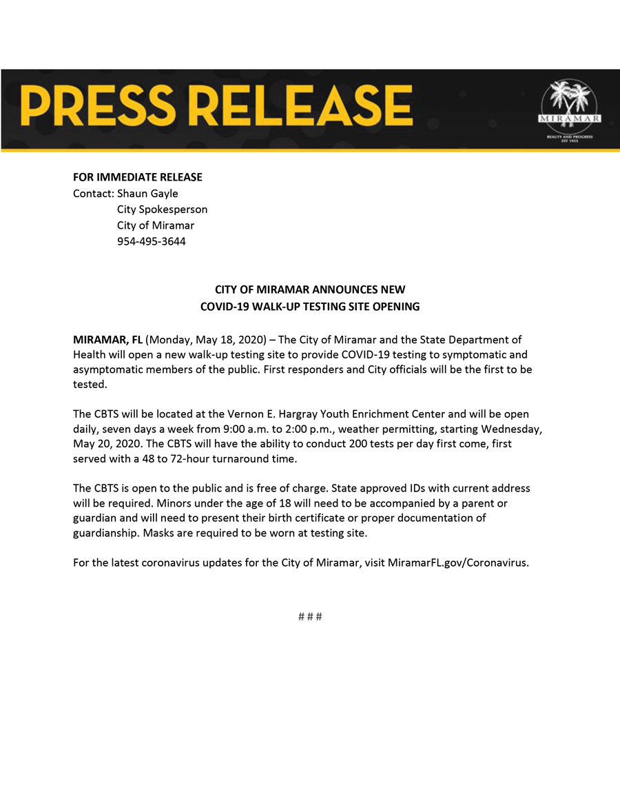 Press Release--Community Based Testing Site Opening