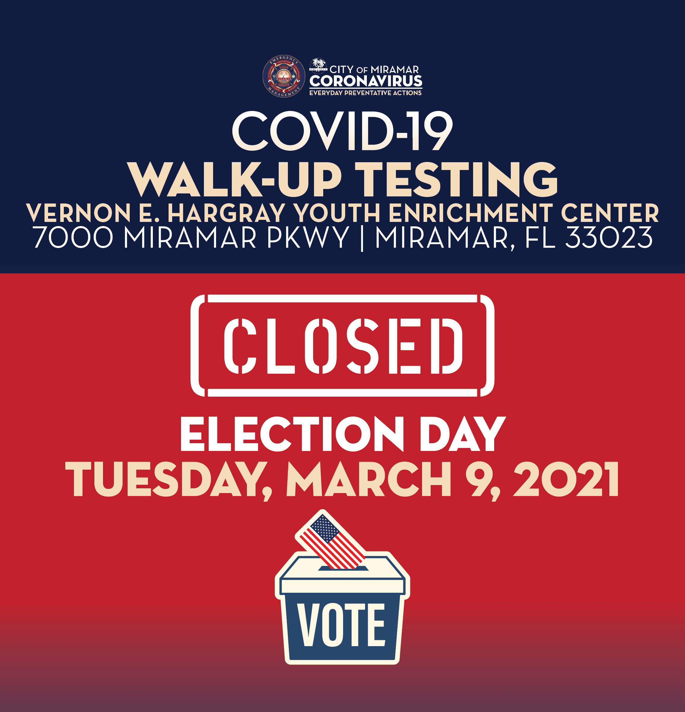 Covid-19 Walk Up Testing Site at YEC Closed on Election Day March 9 - banner