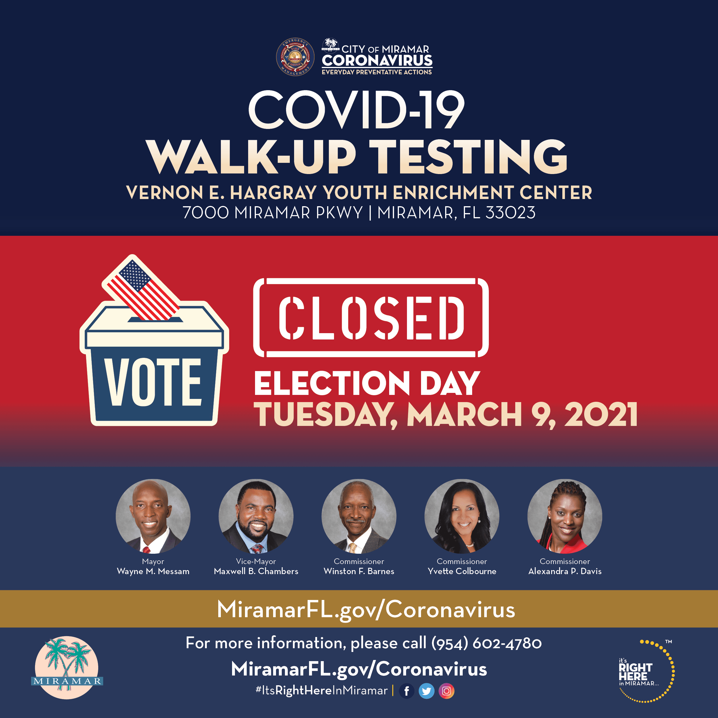 Covid-19 Walk Up Testing Site at YEC Closed on Election Day March 9